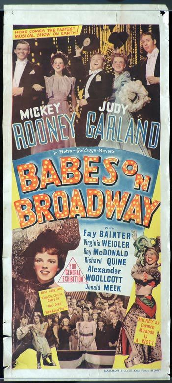Babes on Broadway, Daybill, Movie Poster, Busby Berkeley, Mickey Rooney, Judy Garland, Fay Bainter, Virginia Weidler, Ray McDonald, Richard Quine, Donald Meek, Alexander Woollcott