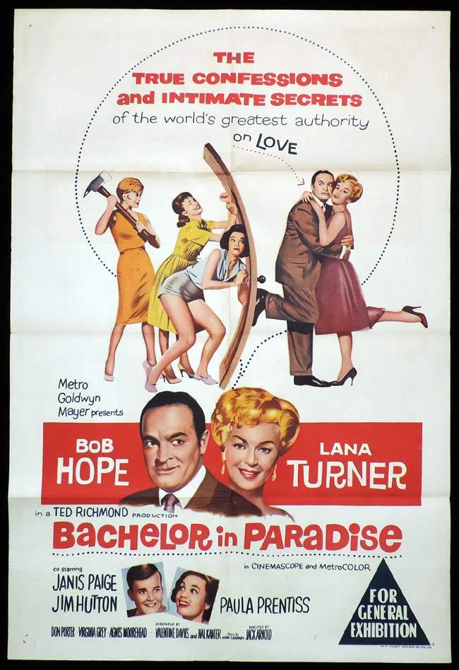 BACHELOR IN PARADISE One Sheet Movie Poster Bob Hope Lana Turner