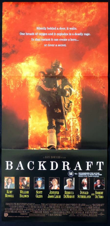 BACKDRAFT Original Daybill Movie poster William Baldwin Kurt Russell