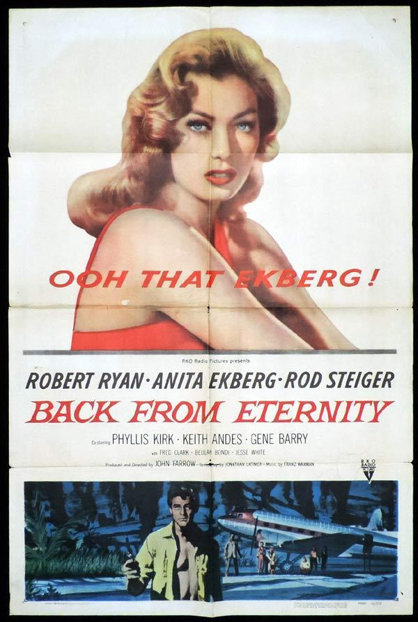 BACK FROM ETERNITY One Sheet Movie Poster Robert Ryan Anita Ekberg