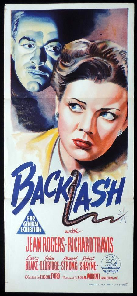 BACKLASH Original Daybill Movie Poster 1947 Jean Rogers Film Noir