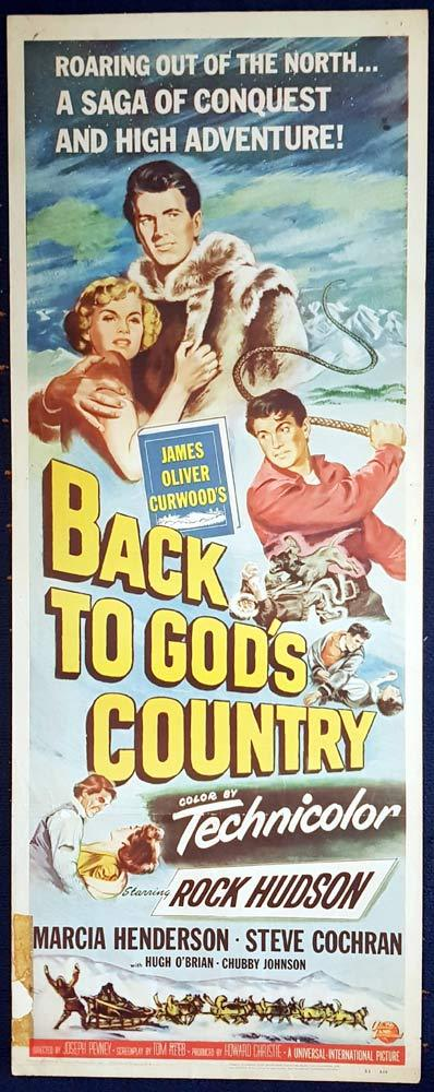 BACK TO GOD'S COUNTRY Movie Poster Rock Hudson US Insert