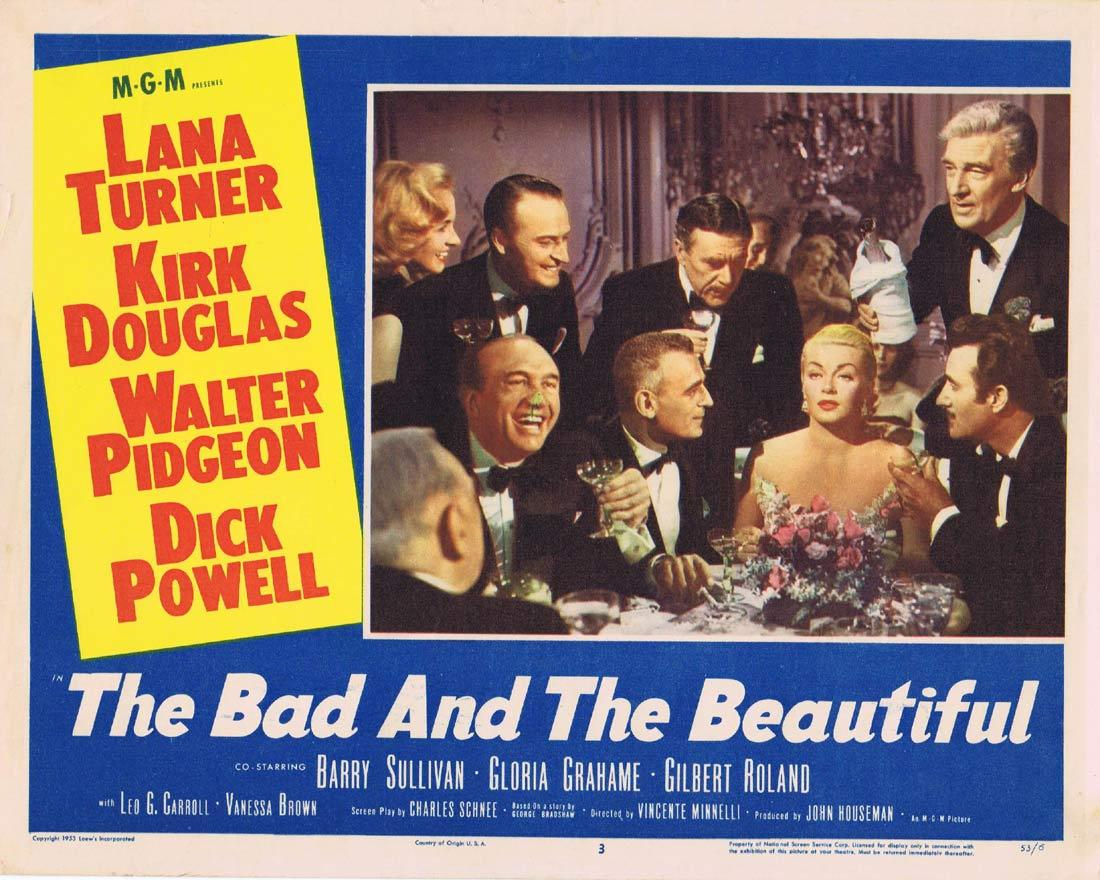 THE BAD AND THE BEAUTIFUL Original Lobby Card Lana Turner Kirk Douglas Walter Pidgeon