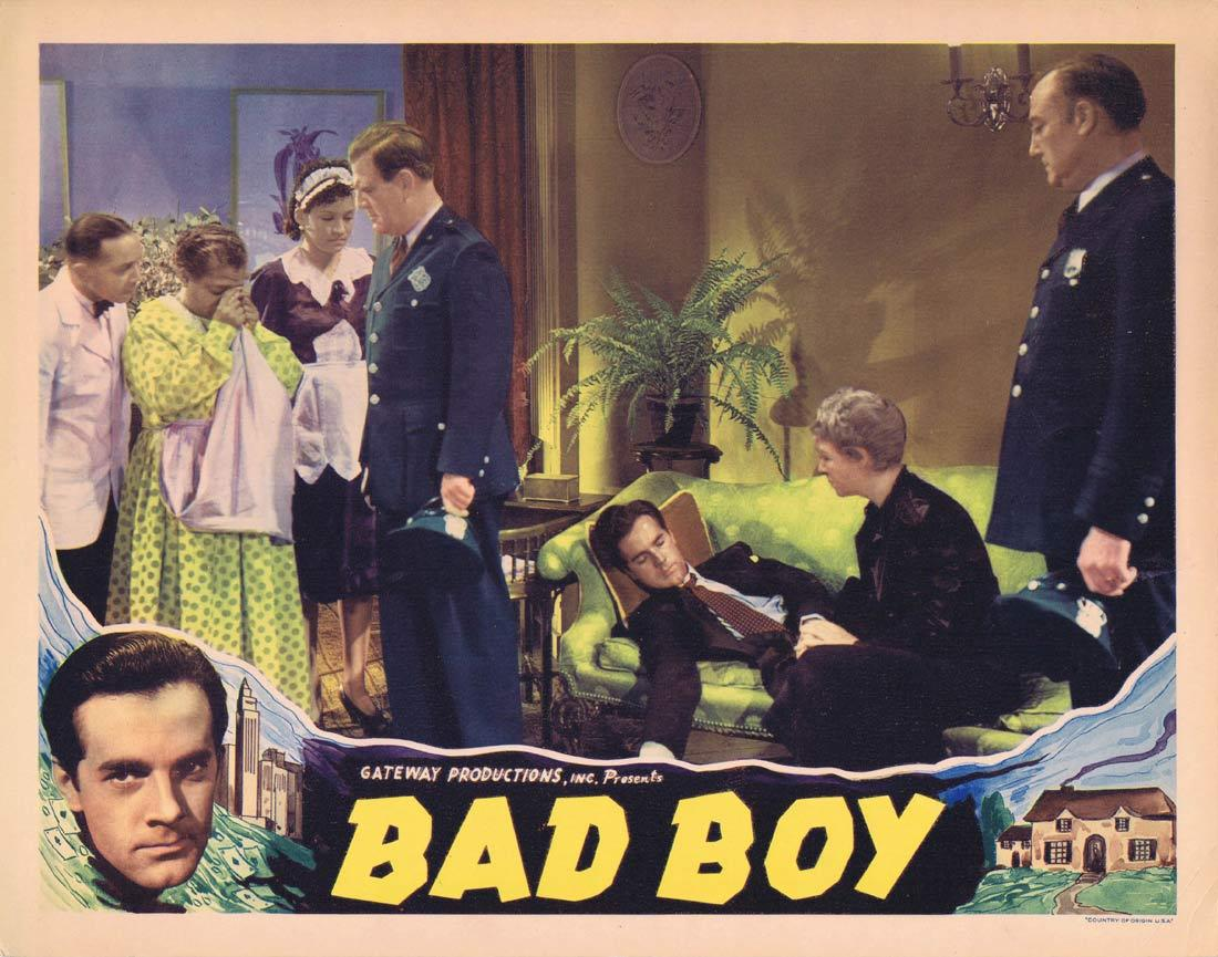 BAD BOY Lobby Card GAMBLING Johnny Downs Rosalind Keith Helen MacKeller 1939