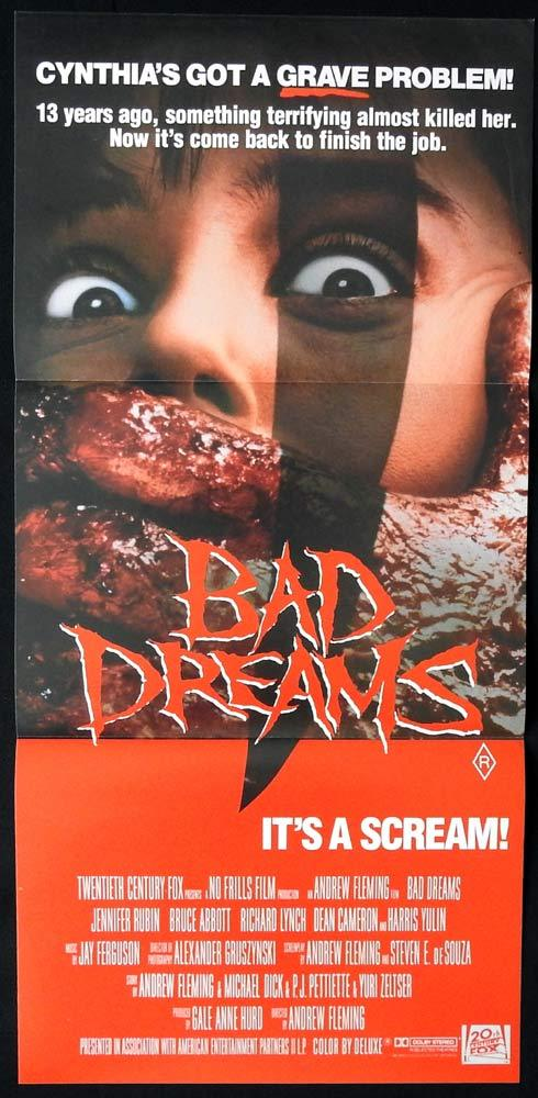 BAD DREAMS, Original Daybill, Movie poster, HORROR, Jennifer Rubin, Bruce Abbott