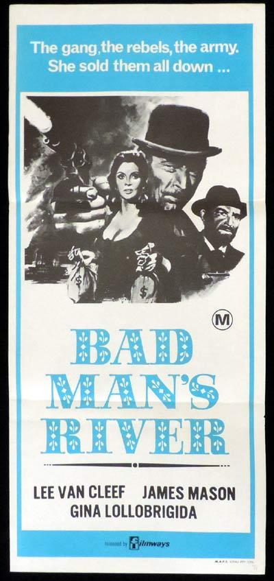 BAD MAN'S RIVER Daybill Movie Poster Spaghetti Western Lee Van Cleef