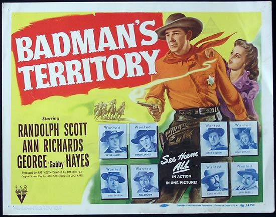 BADMANS TERRITORY 1946 Randoph Scott RKO Title Lobby Card