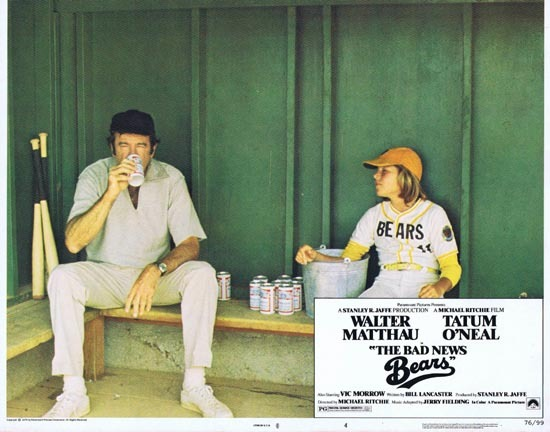 BAD NEWS BEARS 1976 Lobby Card 4 Walter Matthau Tatum O'Neal