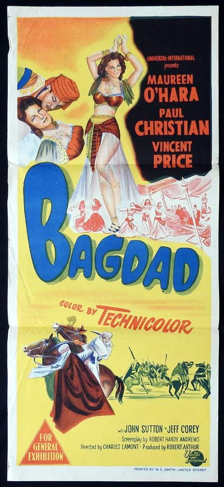 BAGDAD Original Daybill Movie poster Maureen O'Hara Vincent Price