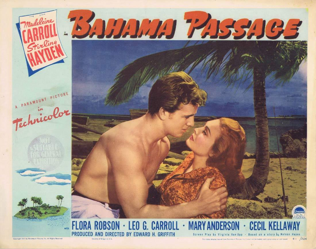 BAHAMA PASSAGE Lobby card Madeleine Carroll Sterling Hayden 1941