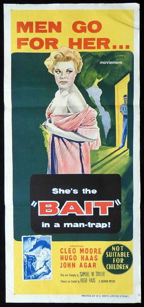 BAIT Original Daybill Movie Poster Cleo Moore Bad Girl Hugo Haas John Agar