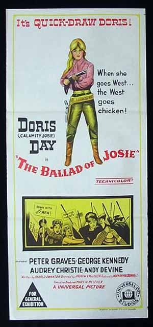 BALLAD OF JOSIE Doris Day RARE Daybill Movie poster