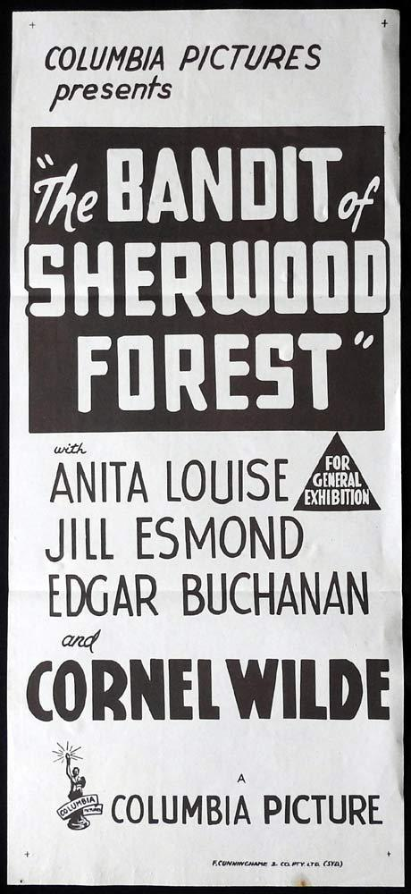 THE BANDIT OF SHERWOOD FOREST Original Daybill Movie poster Cornel Wilde Robin Hood