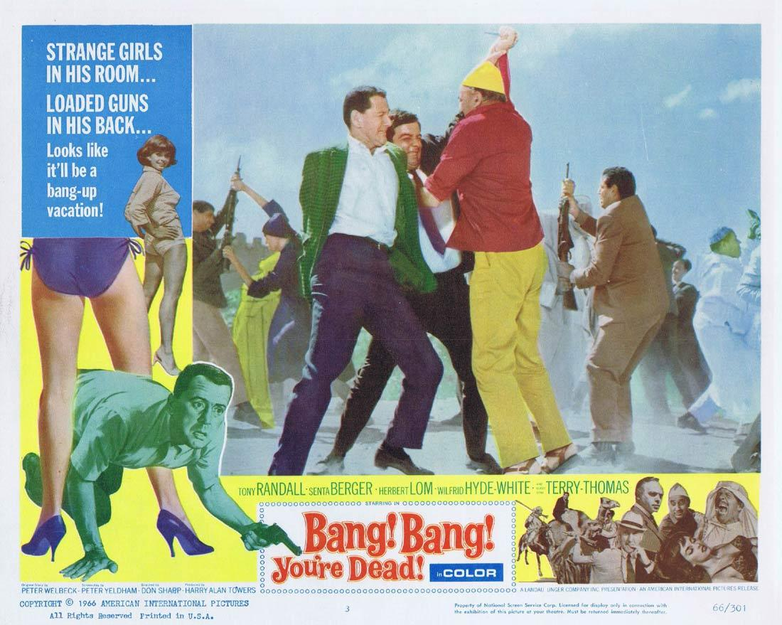 BANG BANG YOU'RE DEAD Lobby Card Tony Randall Senta Berger Herbert Lom Wilfrid Hyde-White