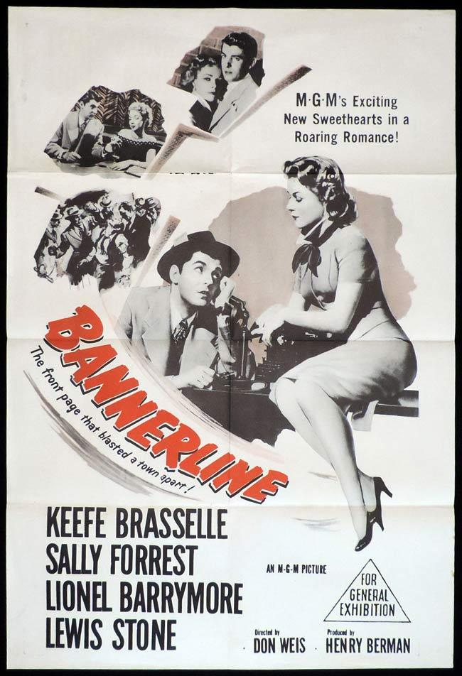 BANNERLINE Original One sheet Movie Poster Keefe Brasselle Sally Forest