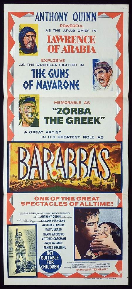 BARABBAS Original Daybill Movie poster Anthony Quinn Silvana Mangano 1960sr