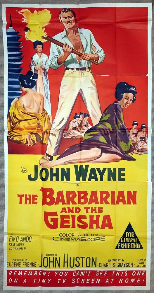 THE BARBARIAN AND THE GEISHA Original 3 Sheet Movie Poster John Wayne