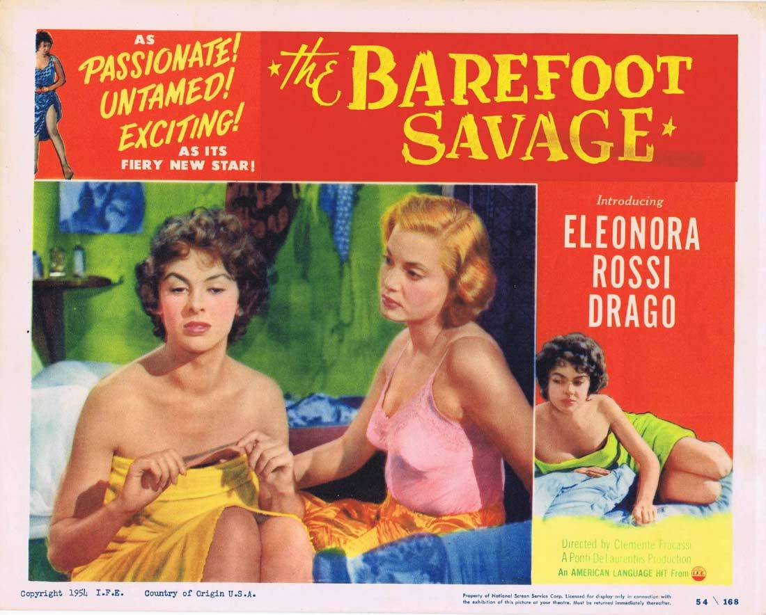 THE BAREFOOT SAVAGE Lobby Card 2 Angelo Binarelli Eleonora Rossi Drago