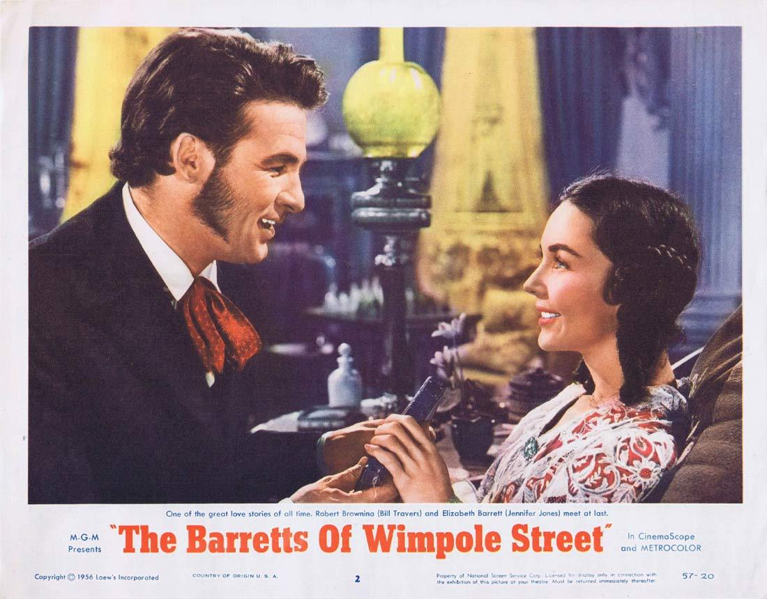 THE BARRETTS OF WIMPOLE STREET Original Lobby Card 2 John Gielgud Jennifer Jones Bill Travers