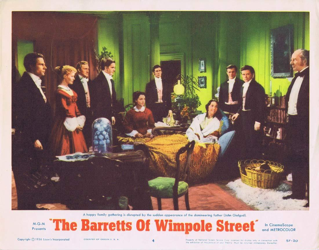 THE BARRETTS OF WIMPOLE STREET Original Lobby Card 4 John Gielgud Jennifer Jones Bill Travers