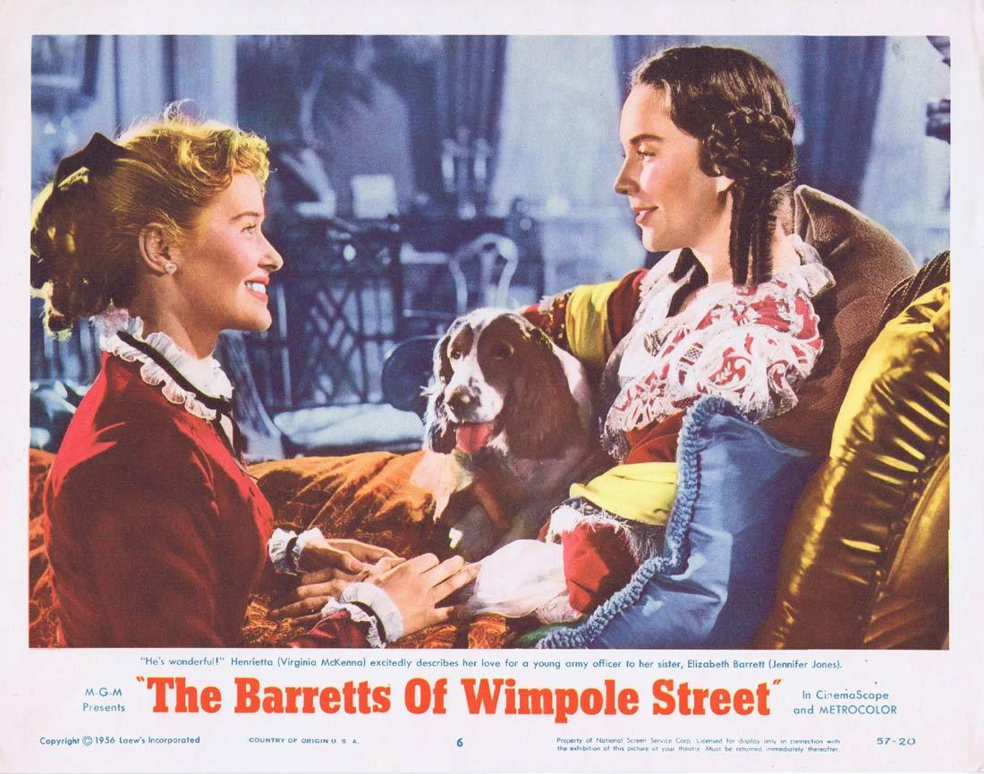 THE BARRETTS OF WIMPOLE STREET Original Lobby Card 6 John Gielgud Jennifer Jones Bill Travers