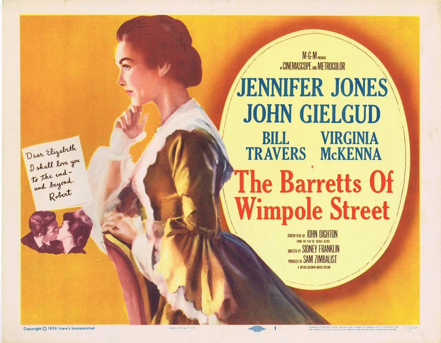 THE BARRETTS OF WIMPOLE STREET Original Title Lobby Card John Gielgud Jennifer Jones Bill Travers