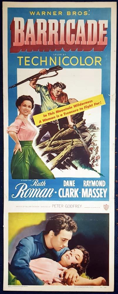 BARRICADE Original US Insert Movie Poster Dane Clark Raymond Massey