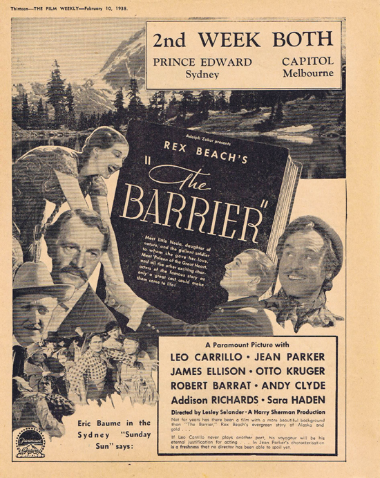 THE BARRIER 1938 Leo Carrillo Movie Trade Ad