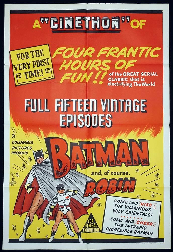 BATMAN Original 1960s One sheet Movie Poster Lewis Wilson Serial