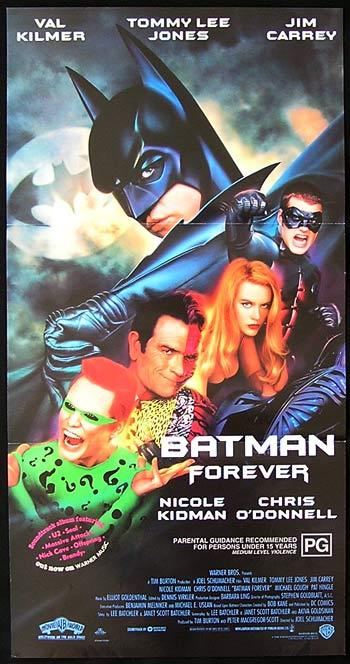 Batman Forever, Joel Schumacher, Val Kilmer, Tommy Lee Jones, Jim Carrey, Nicole Kidman, Michael Gough, Pat Hingle, Chris O'Donnell
