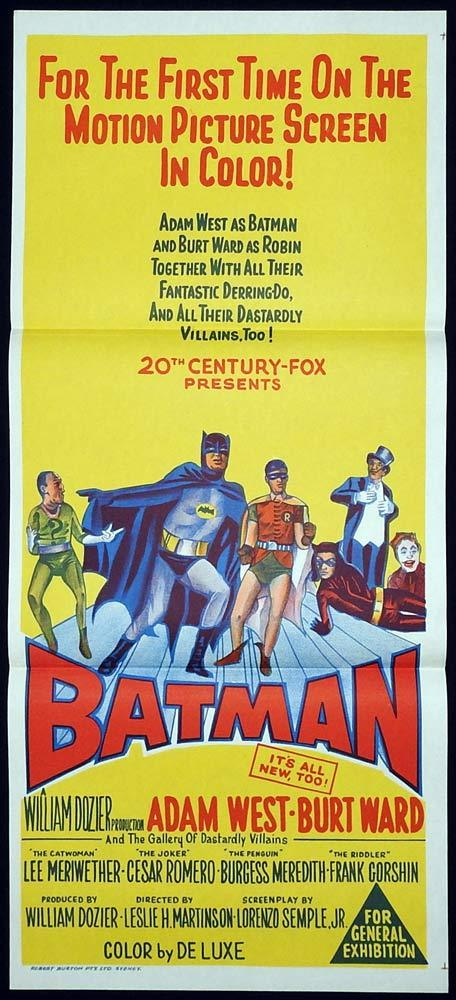 BATMAN Original daybill Movie Poster Adam West Burt Ward 1966