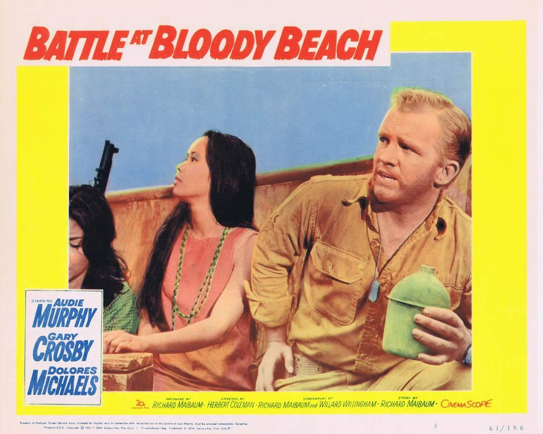 BATTLE AT BLOODY BEACH Lobby Card 3 Audie Murphy Gary Crosby Dolores Michaels