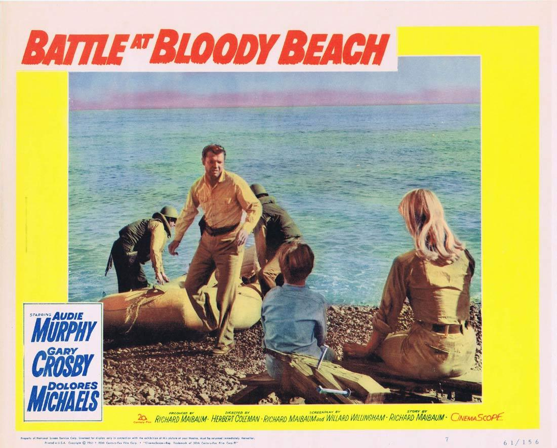 BATTLE AT BLOODY BEACH Lobby Card 7 Audie Murphy Gary Crosby Dolores Michaels