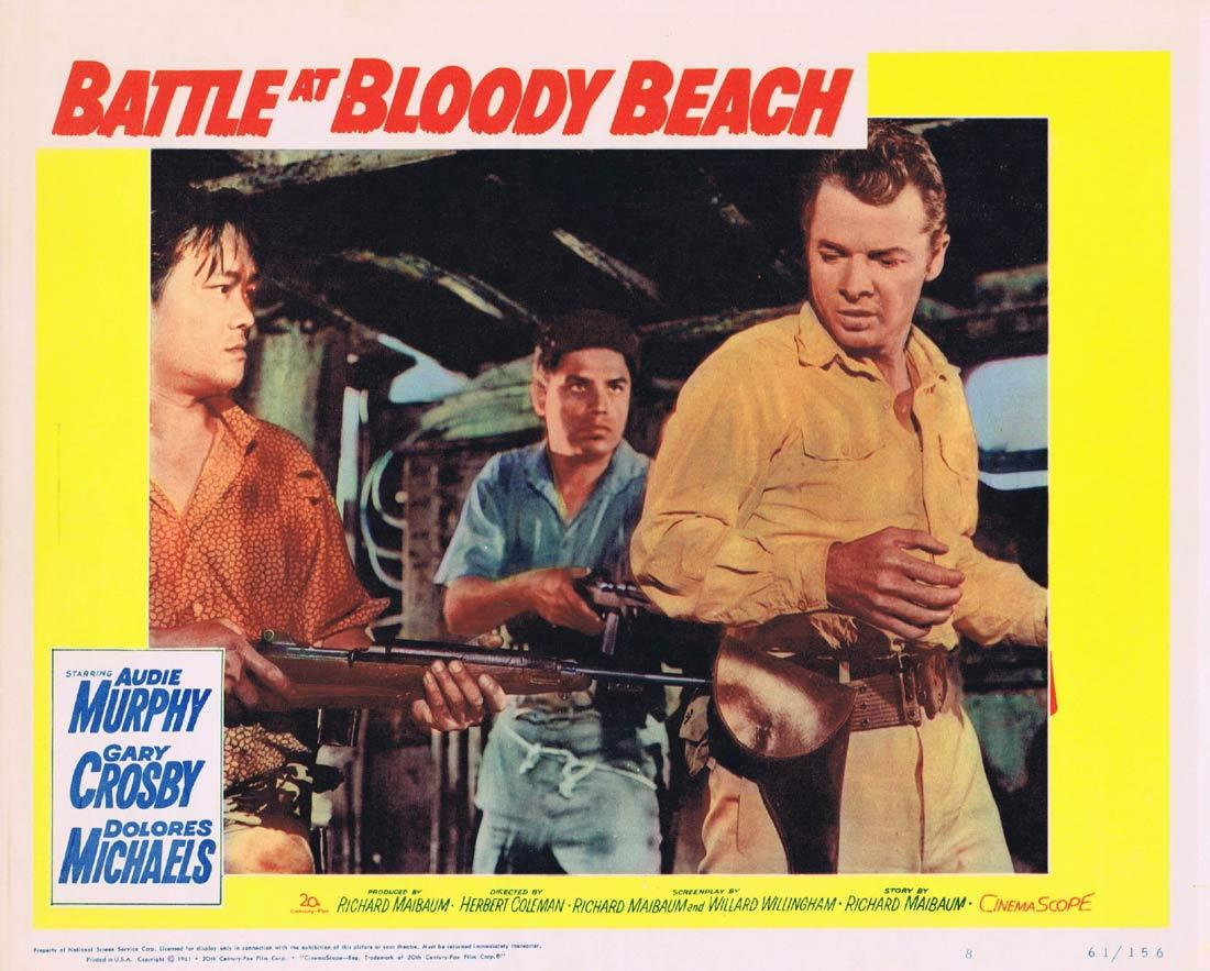 BATTLE AT BLOODY BEACH Lobby Card 8 Audie Murphy Gary Crosby Dolores Michaels