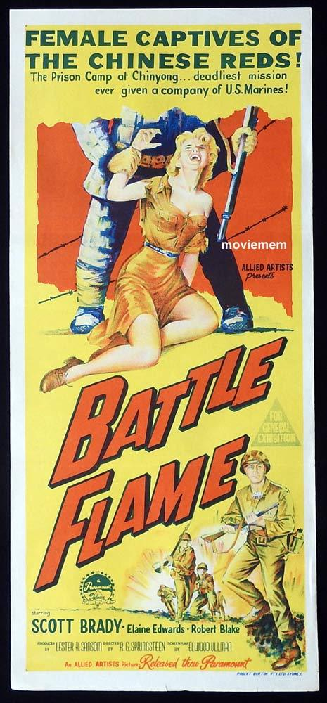 BATTLE FLAME Original Daybill Movie Poster Scott Brady Elaine Edwards