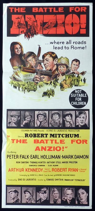BATTLE FOR ANZIO Original Daybill Movie Poster Robert Mitchum Peter Falk