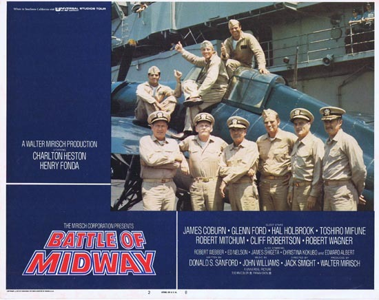 BATTLE OF MIDWAY 1976 Lobby Card 2 Charlton Heston Henry Fonda