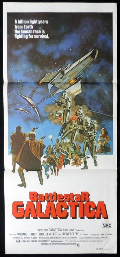 BATTLESTAR GALACTICA Original Daybill Movie Poster Lorne Greene Sci Fi