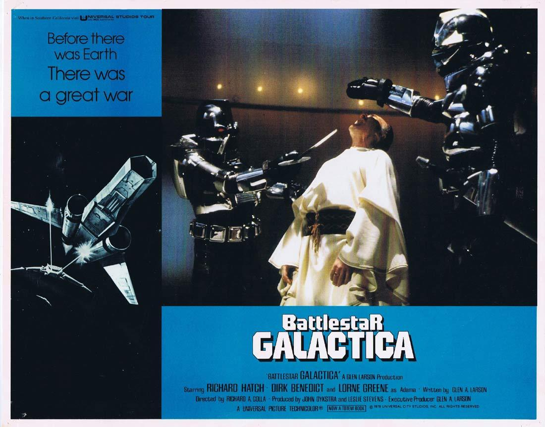 BATTLESTAR GALACTICA Original Lobby Card 4 Richard Hatch Lorne Greene Sci Fi