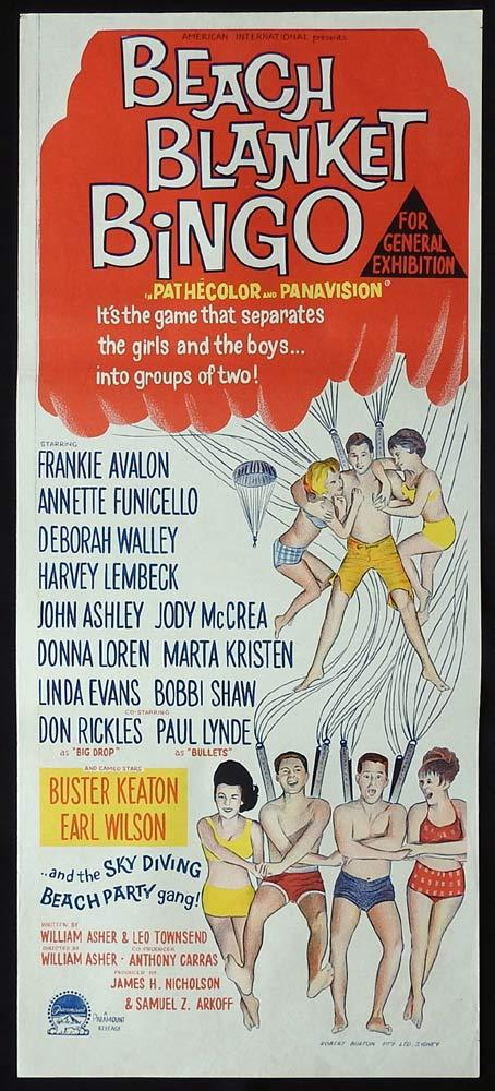 BEACH BLANKET BINGO Original Daybill Movie Poster Frankie Avalon Annette Funicello