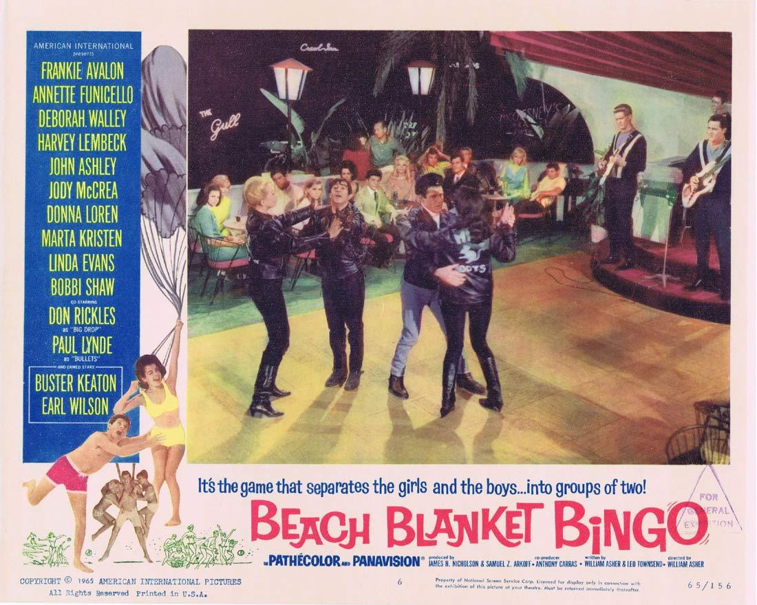 BEACH BLANKET BINGO Original Lobby Card 6 Frankie Avalon Annette Funicello