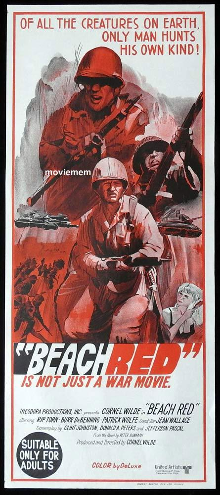 BEACH RED Original Daybill Movie Poster Cornel Wilde Rip Torn