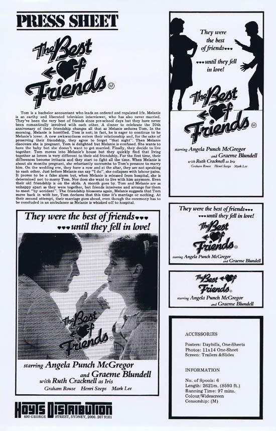 BEST OF FRIENDS Rare AUSTRALIAN Movie Press Sheet