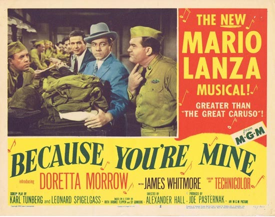 BECAUSE YOU'RE MINE 1952 Mario Lanza Lobby Card 2