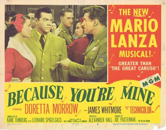 BECAUSE YOU'RE MINE 1952 Mario Lanza Lobby Card 3