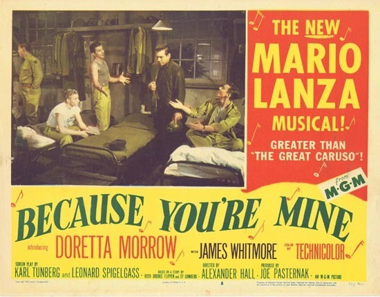 BECAUSE YOU'RE MINE 1952 Mario Lanza Lobby Card 8