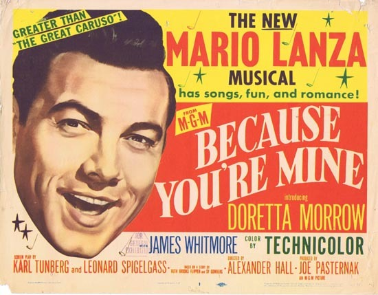 BECAUSE YOU'RE MINE 1952 Mario Lanza Title Lobby Card