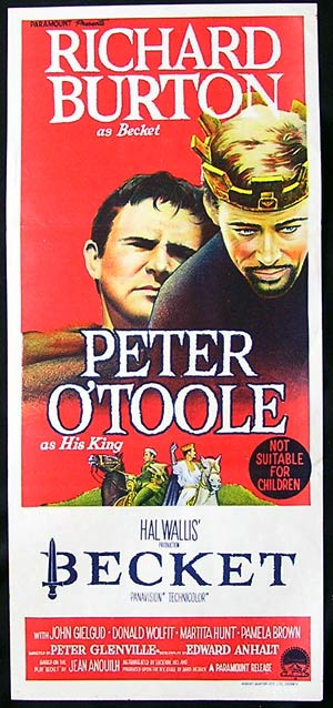 BECKETT Movie Poster 1964 Peter O'Toole daybill