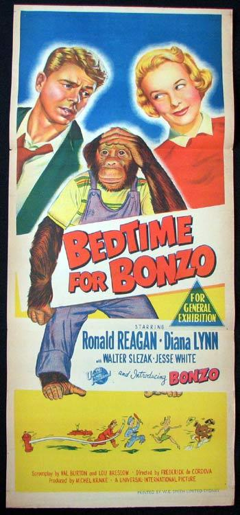 BEDTIME FOR BONZO Movie poster Ronald Reagan Diana Lynn