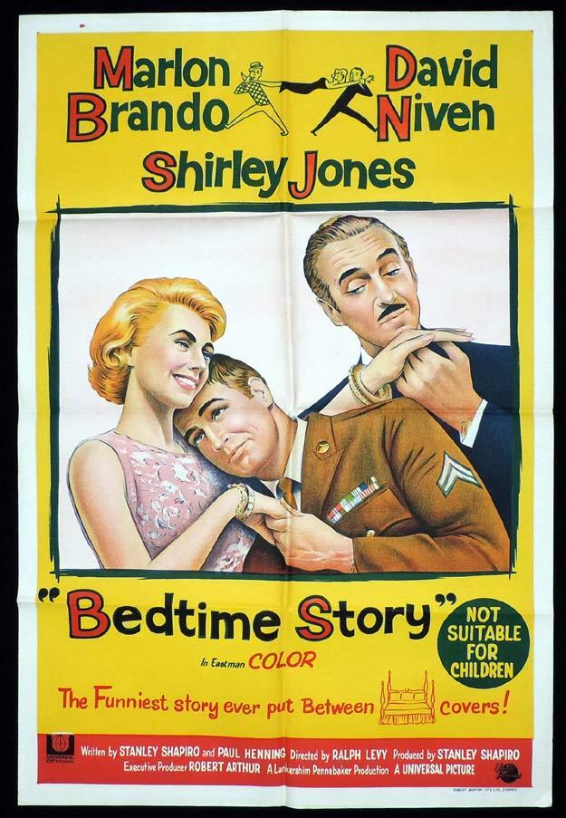 BEDTIME STORY One Sheet Movie Poster Marie Windsor Marlon Brando David Niven